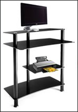 RTA Tall Computer Desk Tempered Glass