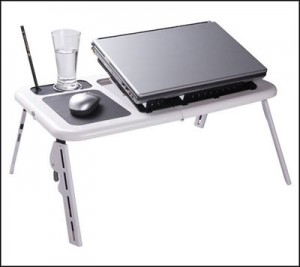 foldable small computer desk with double fans