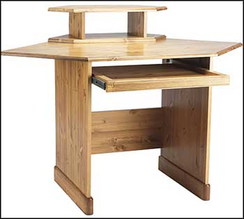 pine computer desk and monitor compartement