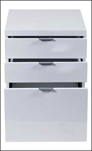 3 drawers white file cabinet