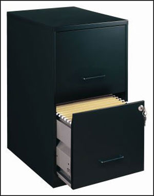 Commclad Home Office Black 2 Drawer Vertical Smart File Cabinet