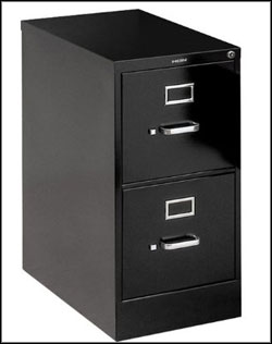 HON black 2 drawer file cabinet
