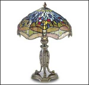 Dale Tiffany Dragonfly Antique Glass Table Lamps