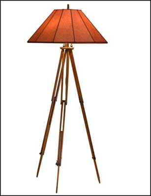 antique wooden floor lamp tripod