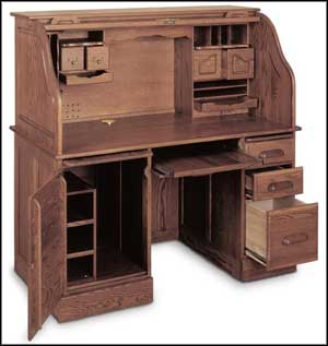 oak roll top computer desks