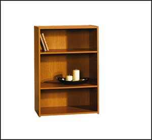 sauder cherry bookcase three shelf
