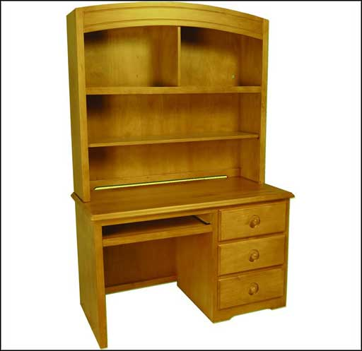 pine student computer desk with hutch