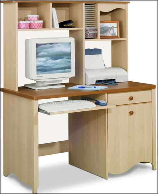 wooden contemporary computer desk with hutch