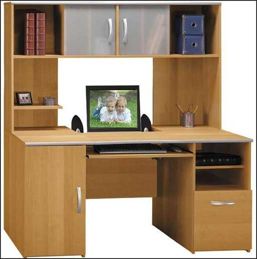 wooden office work desk with hutch