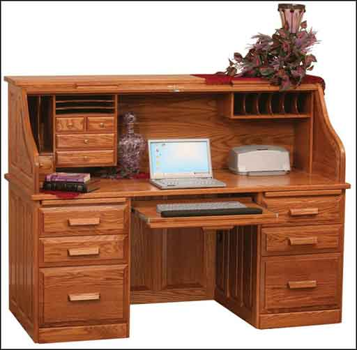 amish oak roll top computer desk top drawers