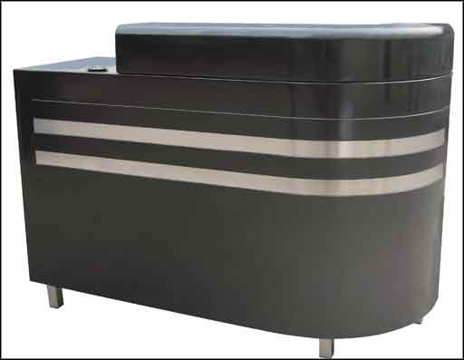 metal reception desk in front table