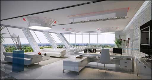 modern office area design with natural view
