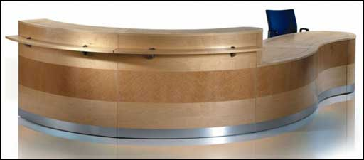 modern wooden modular reception desk