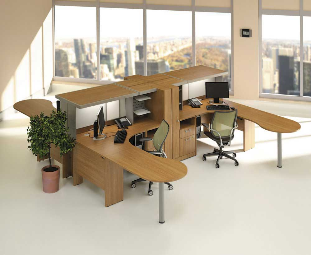 Modern Cherry Quantum Modular Office Furniture