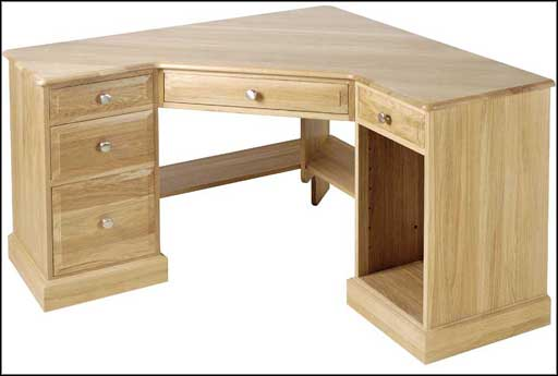 Solid Corner Pine L-Shaped Computer Desk