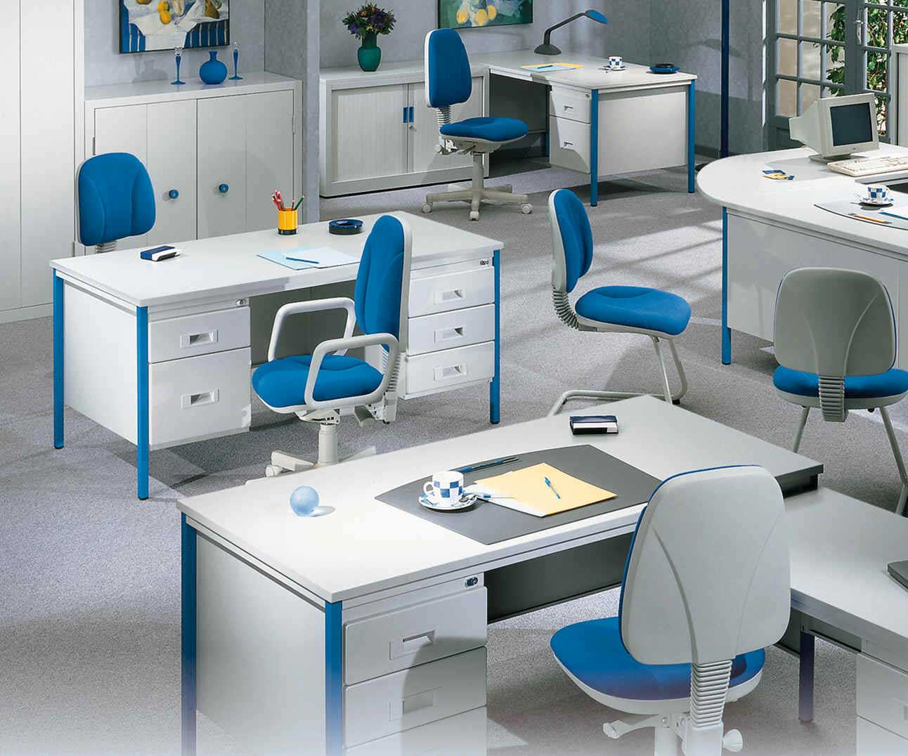 contemporary white and blue office furniture design