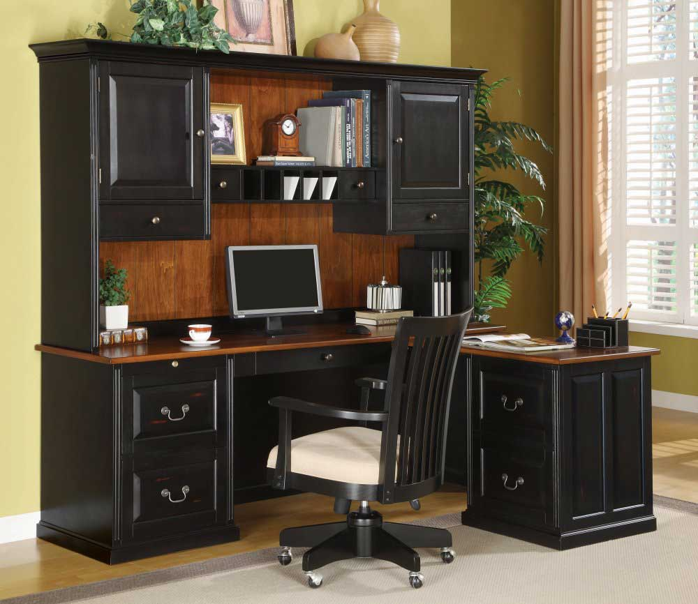 elegant black finish contemporary home office furniture