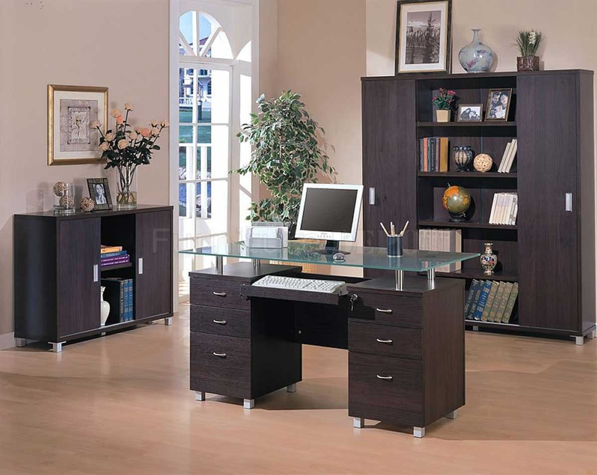 Espresso Finish Contemporary Office Computer Desk