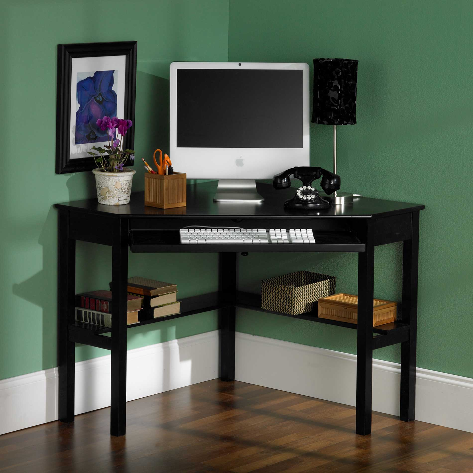 HON Black Corner Computer Desk for Home