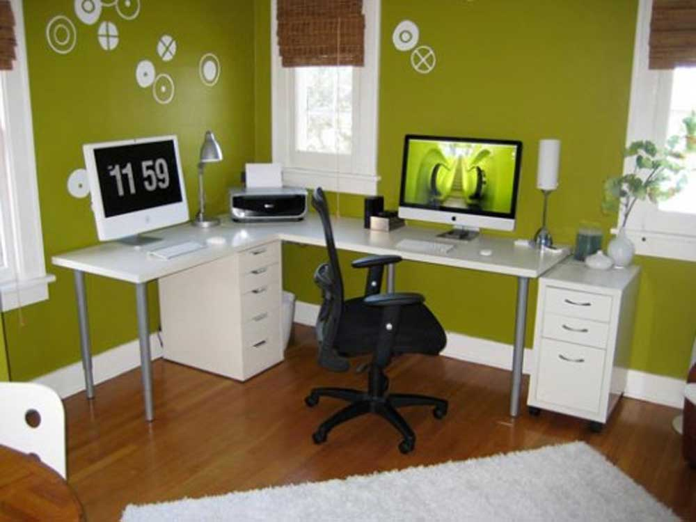 L-Shaped Desk Home Office Decorating Ideas