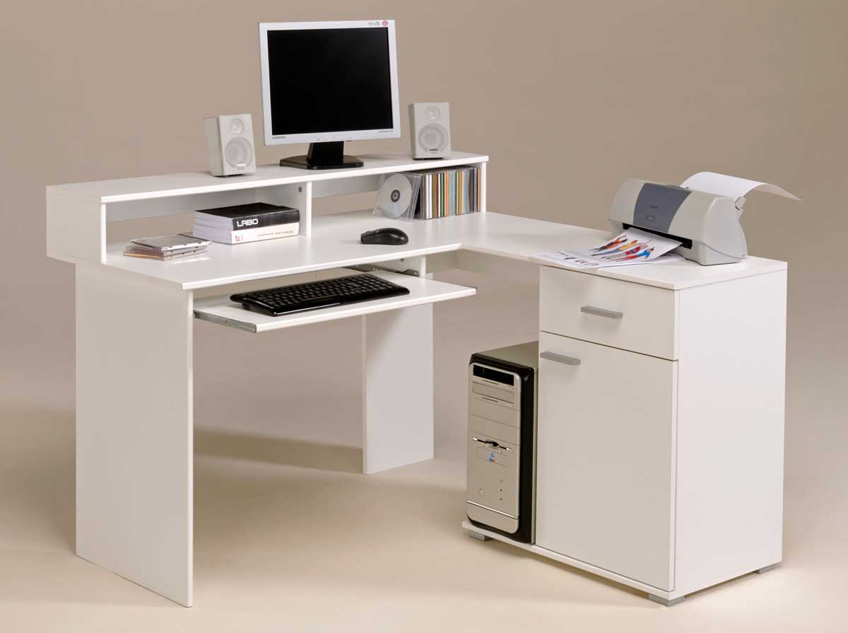 Modern White Corner Computer Desk for Home