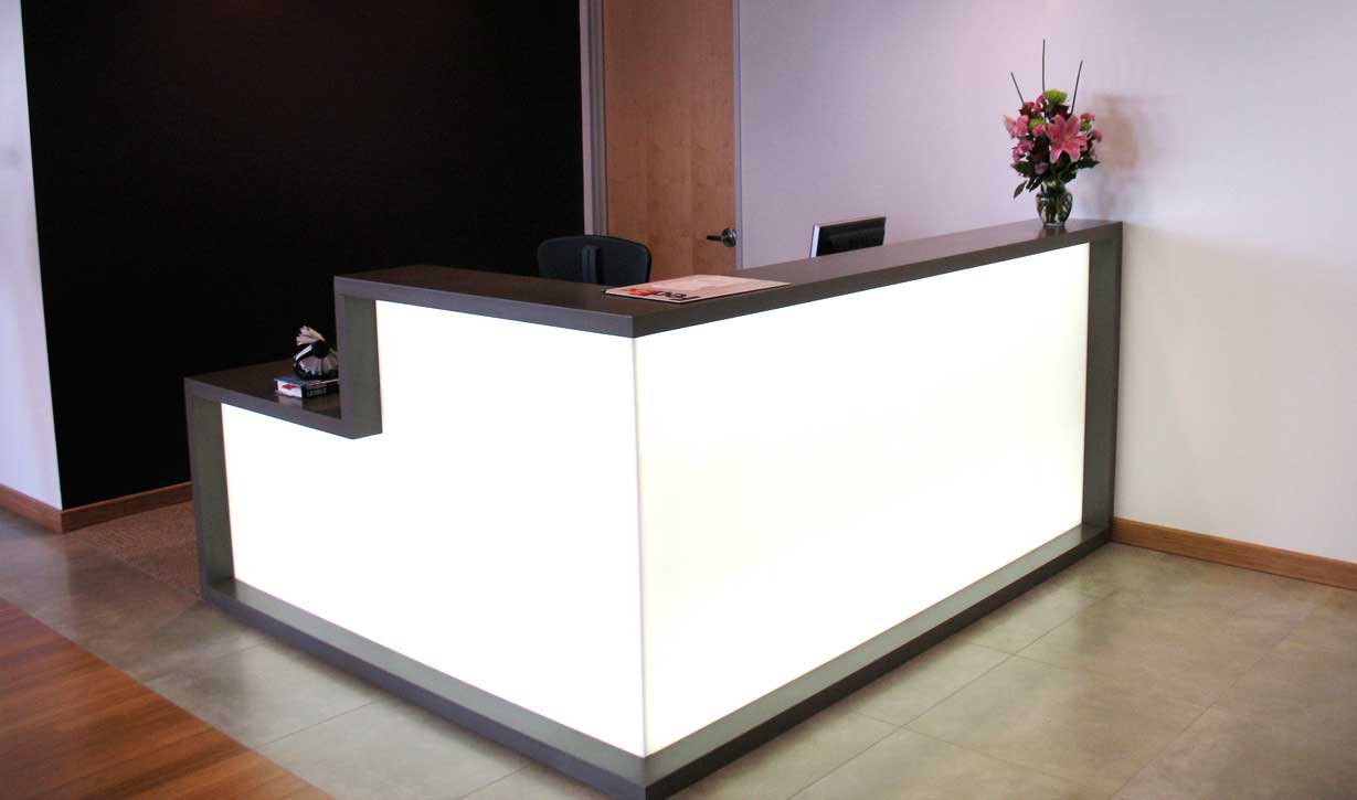 black and white clean reception desk