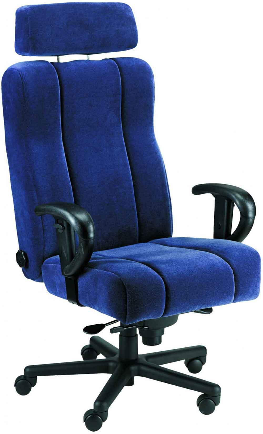 blue office chair with big and tall headrest
