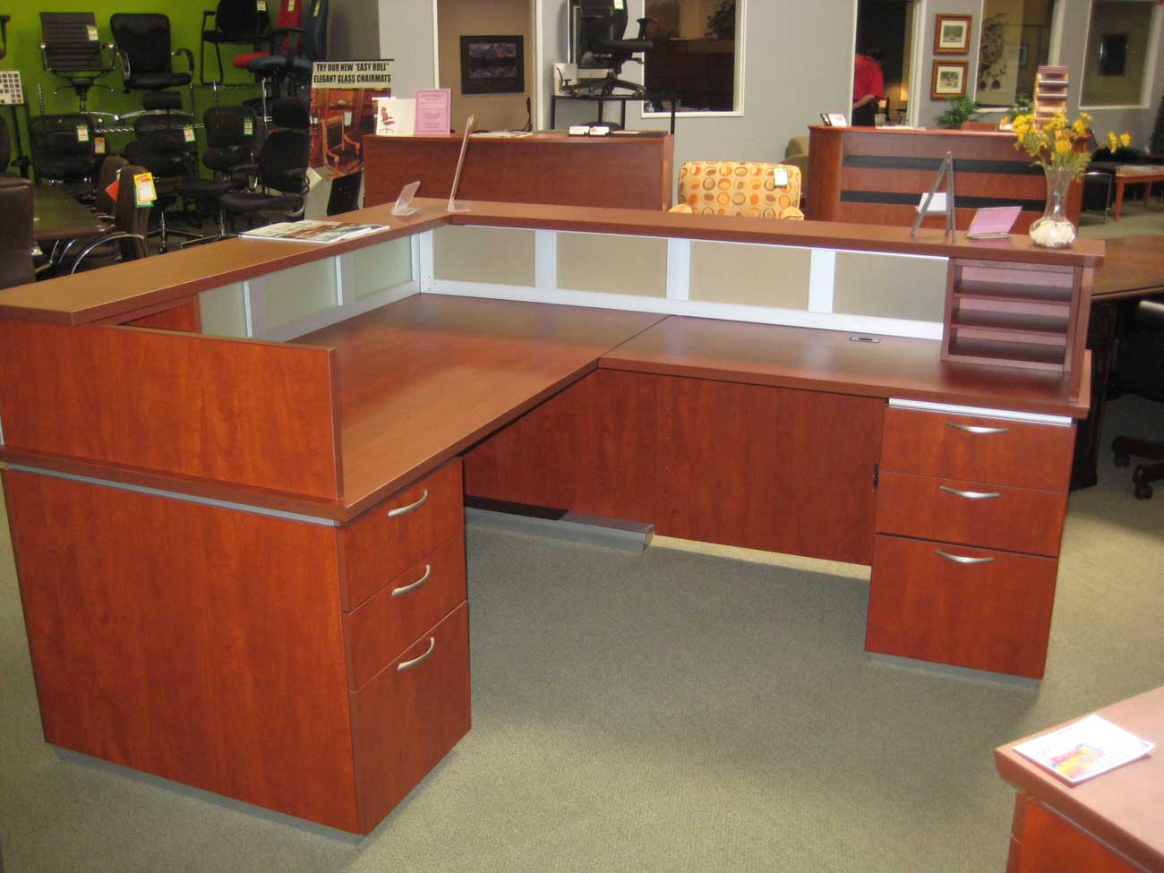 frosted glass wooden reception desk
