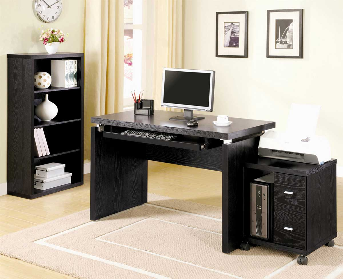 solid wood black computer workstation