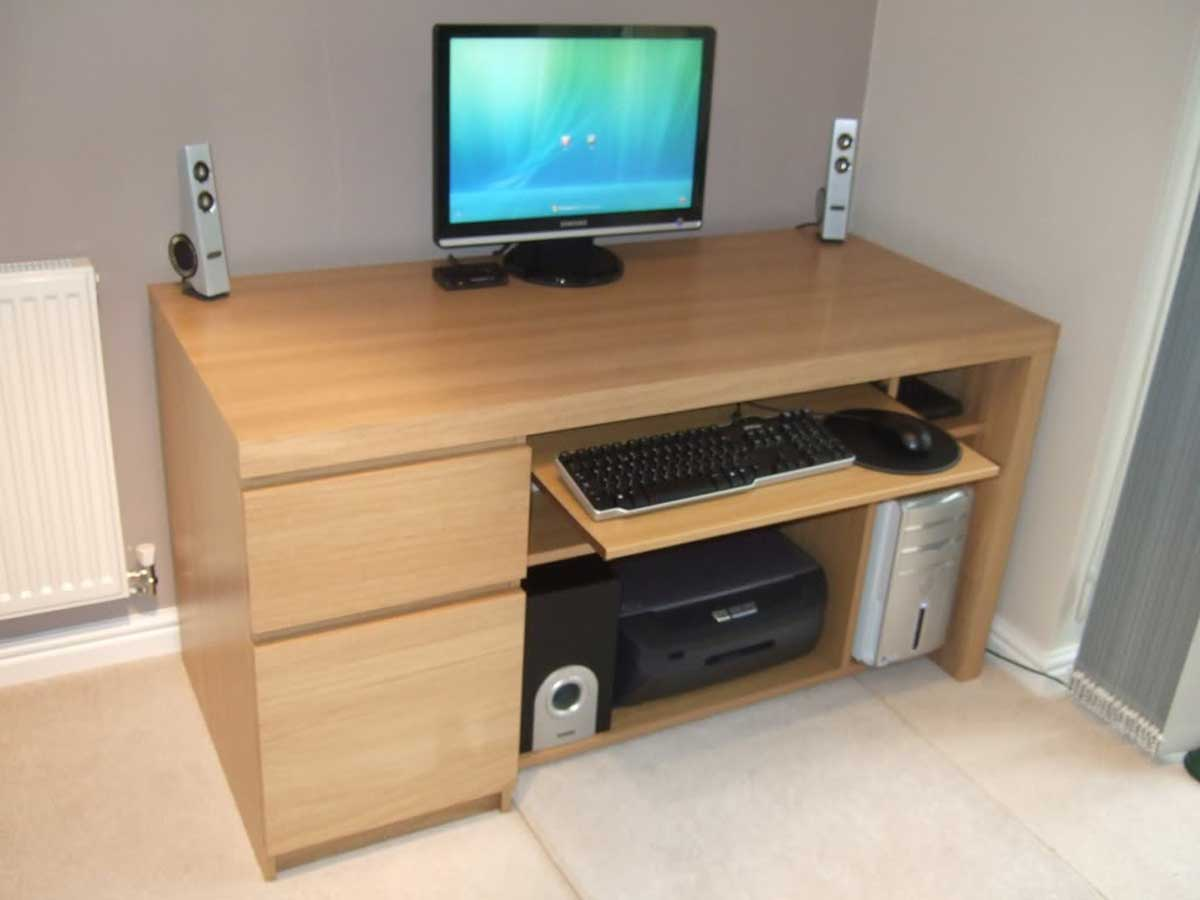 wooden Ikea computer desk two drawer