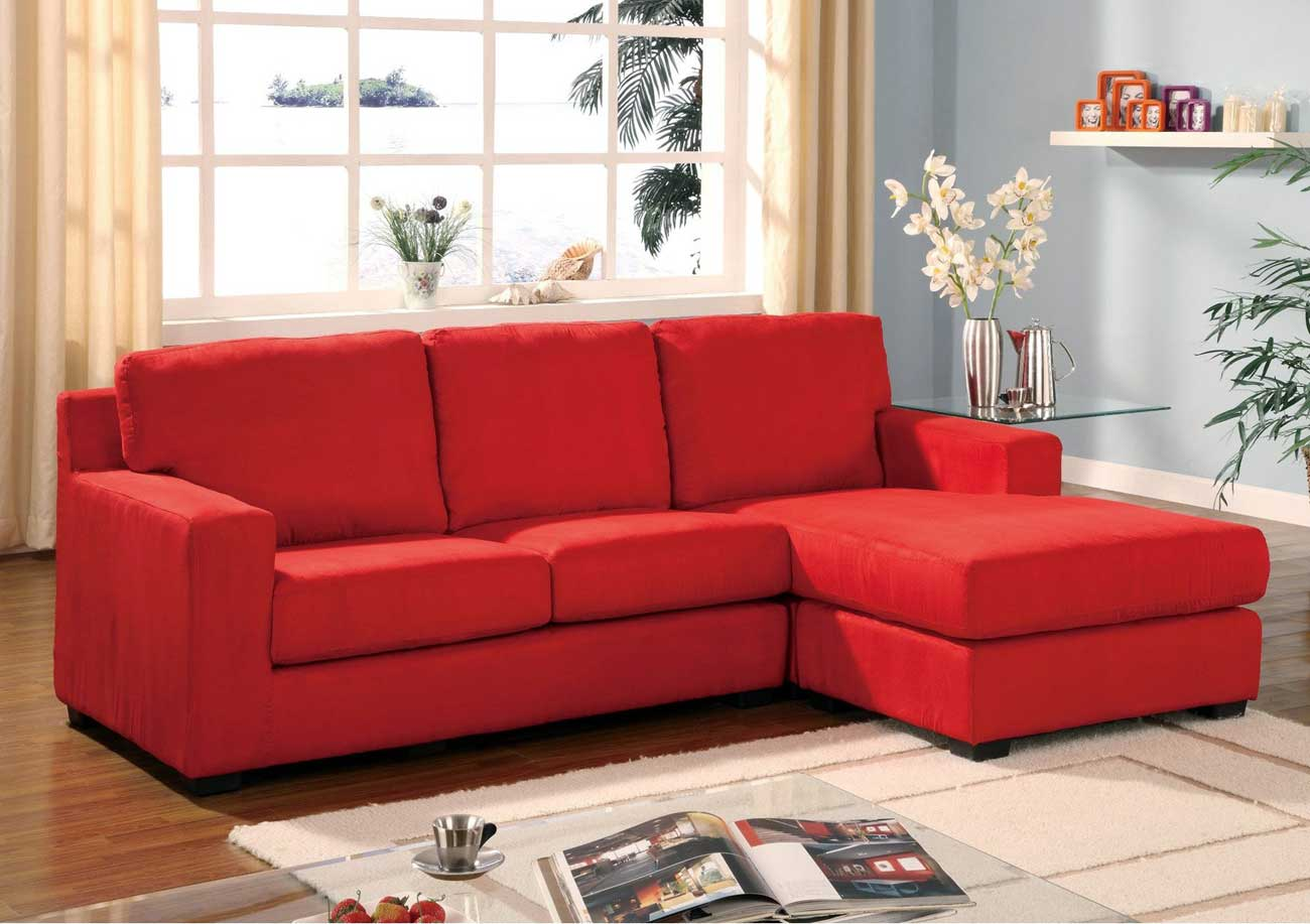 Acme Microfiber Sofas in Vogue Red