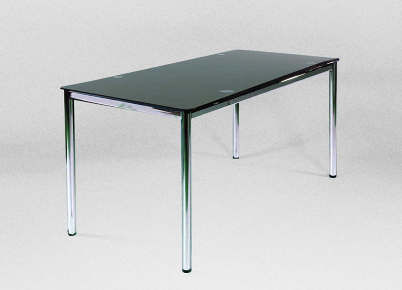 Adjustable Chromed steel Feet Tempered black printed glass desk