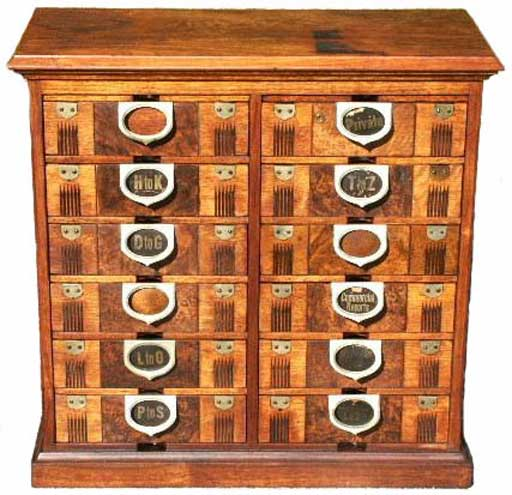 Amberg Antique Wooden Letter File Cabinet