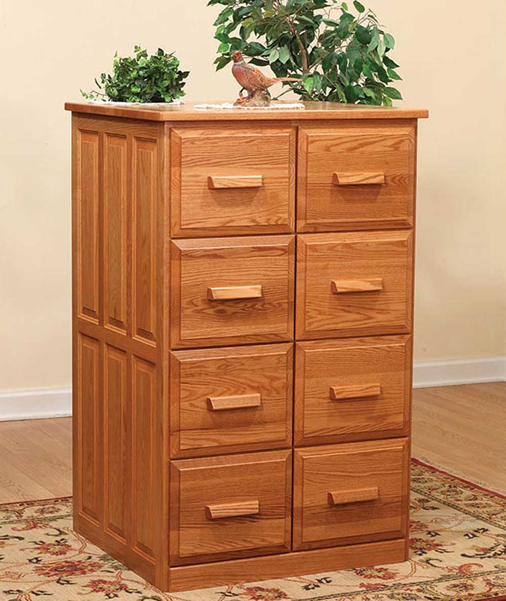 Amish Furniture Double Wooden Vertical Filing Cabinet