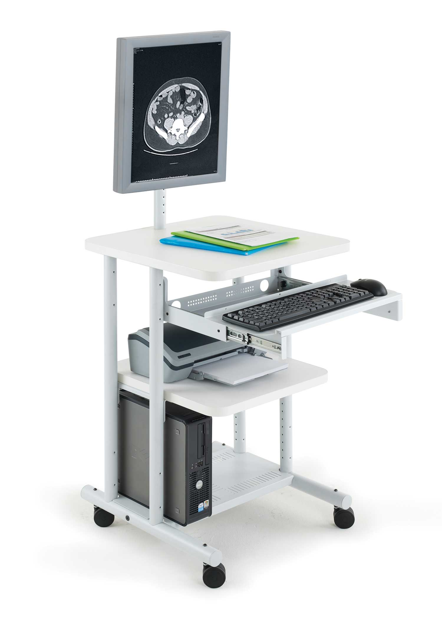 Anthro white compact mobile computer cart