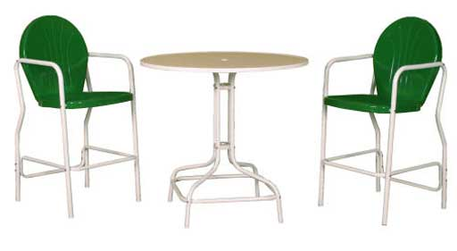 Bellaire green retro metal office bar chairs and table