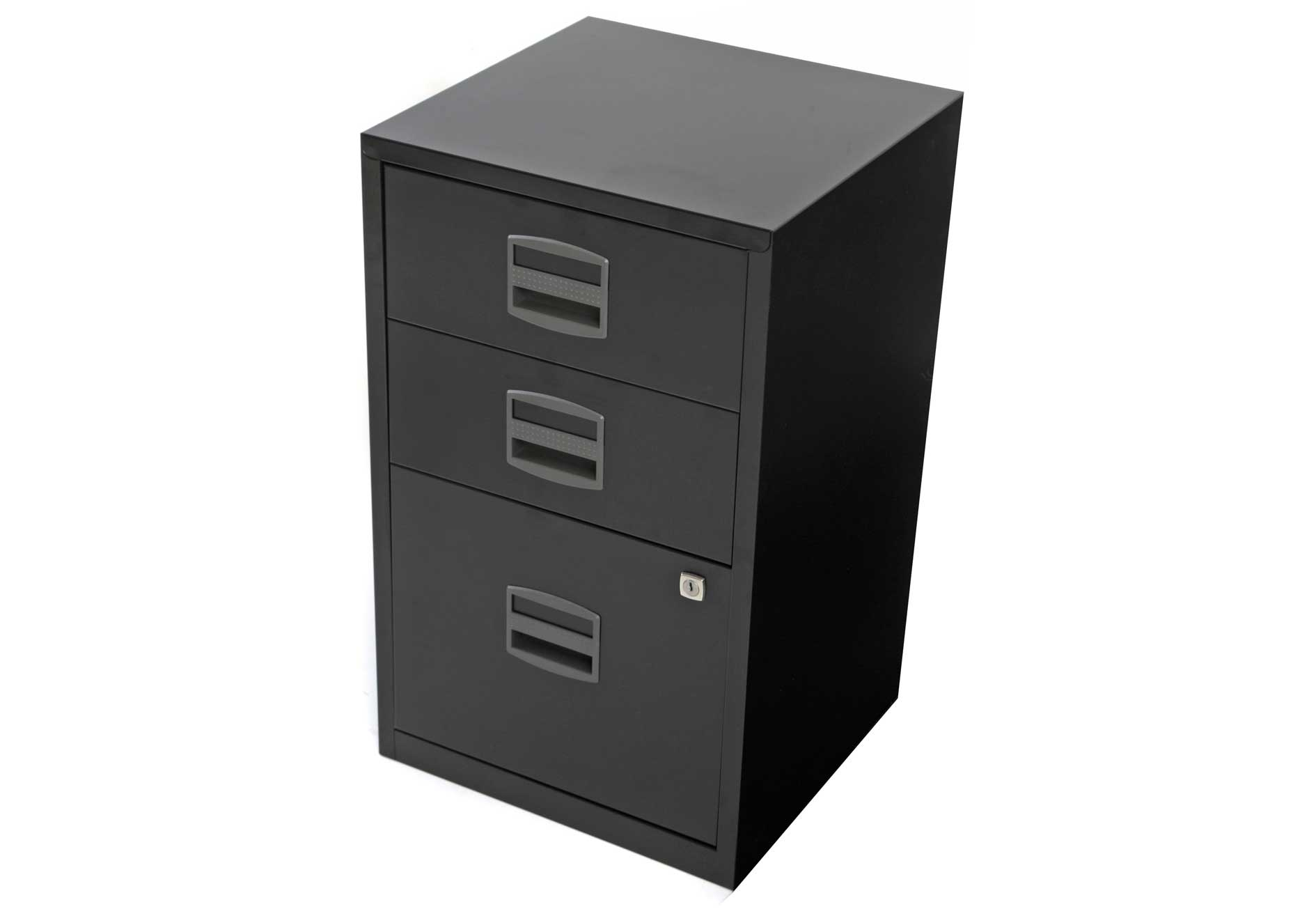 Bisley Black Steel Filing Cabinet with 3 Drawers