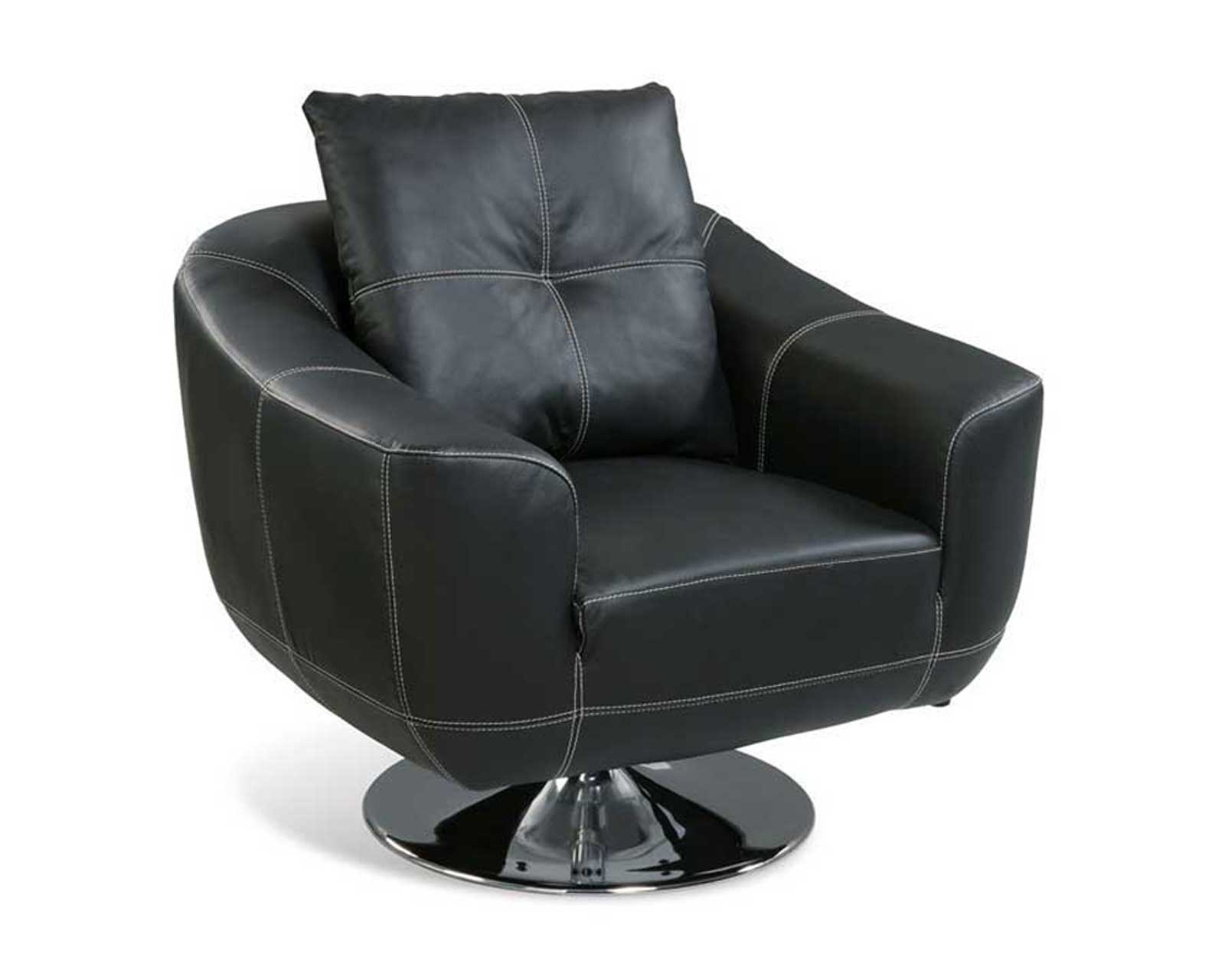 Black Italian Leather Swivel Chairs with White Stitching