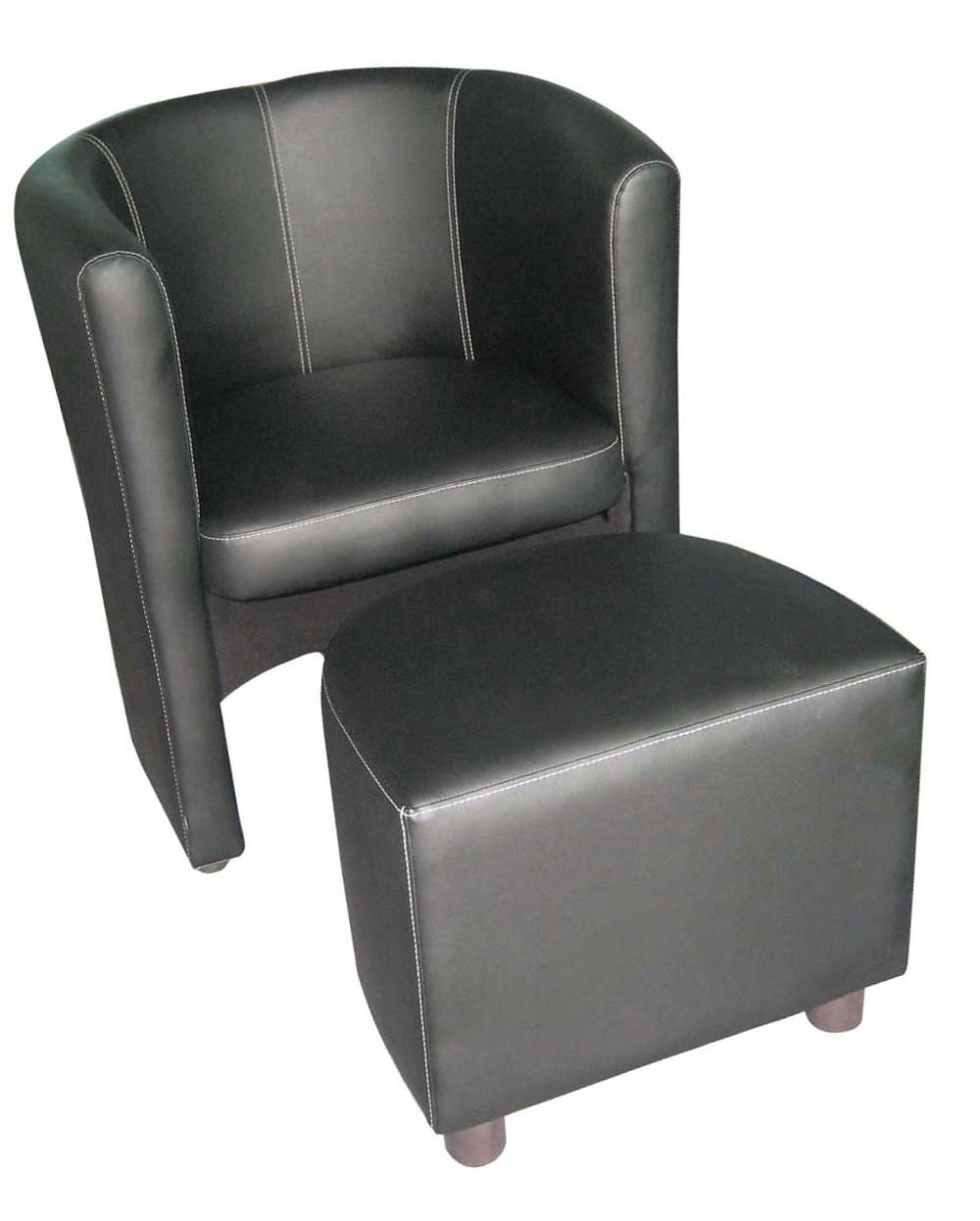 Black Leather Tub Chair Sets with Ottoman