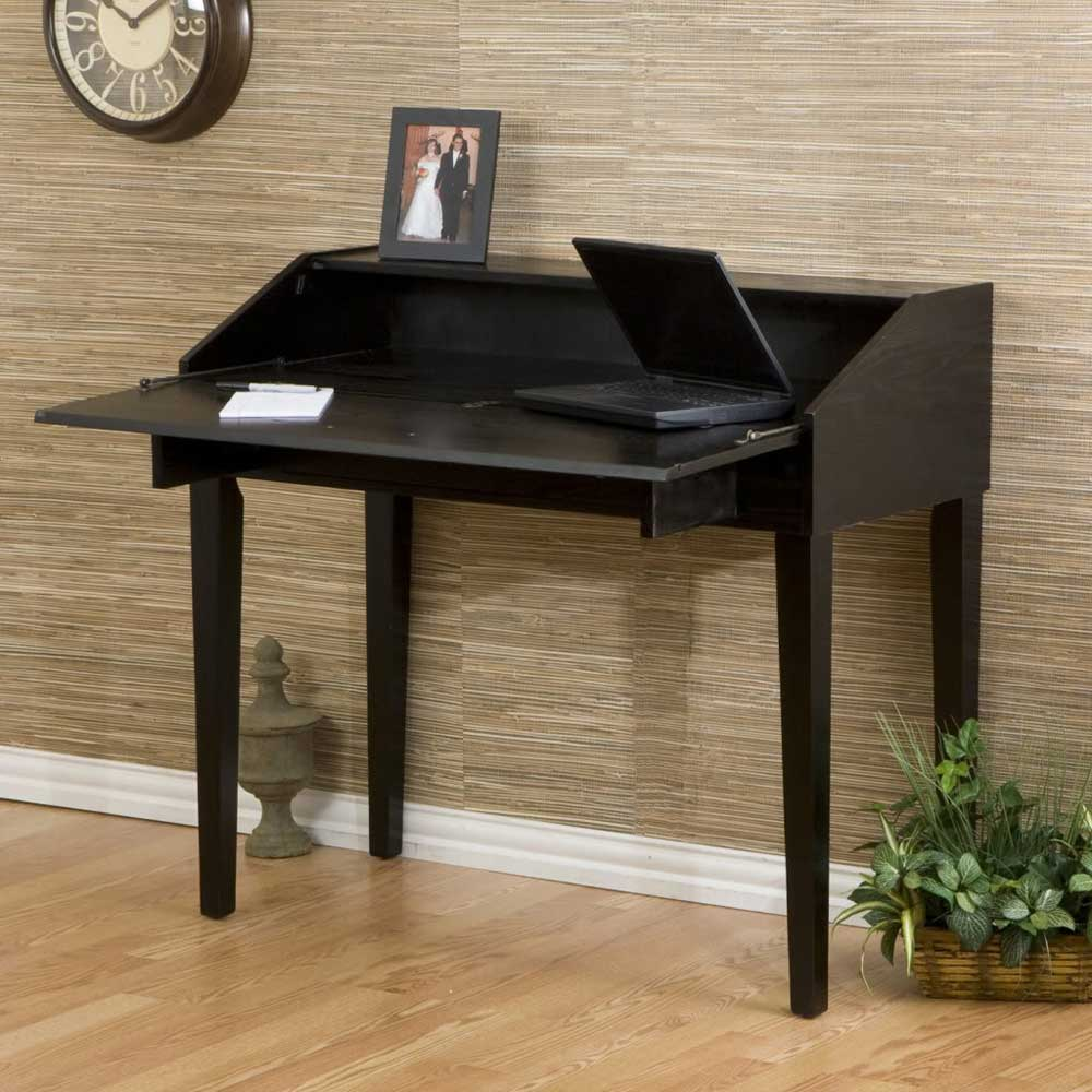 Black Wood Stain Laptop Fold Up Secretary Desk