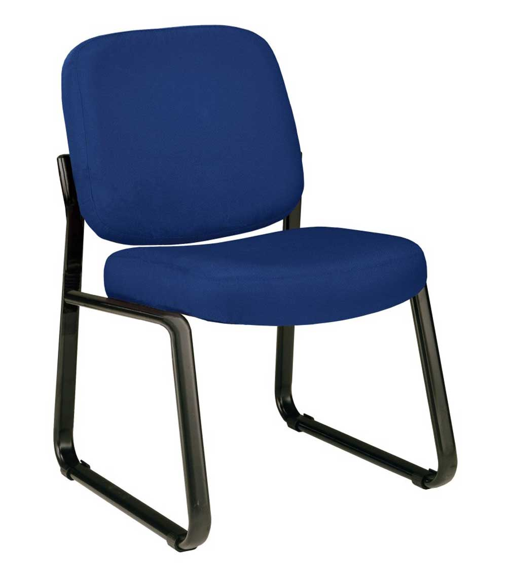 Blue Armless Steel Lobby Chair