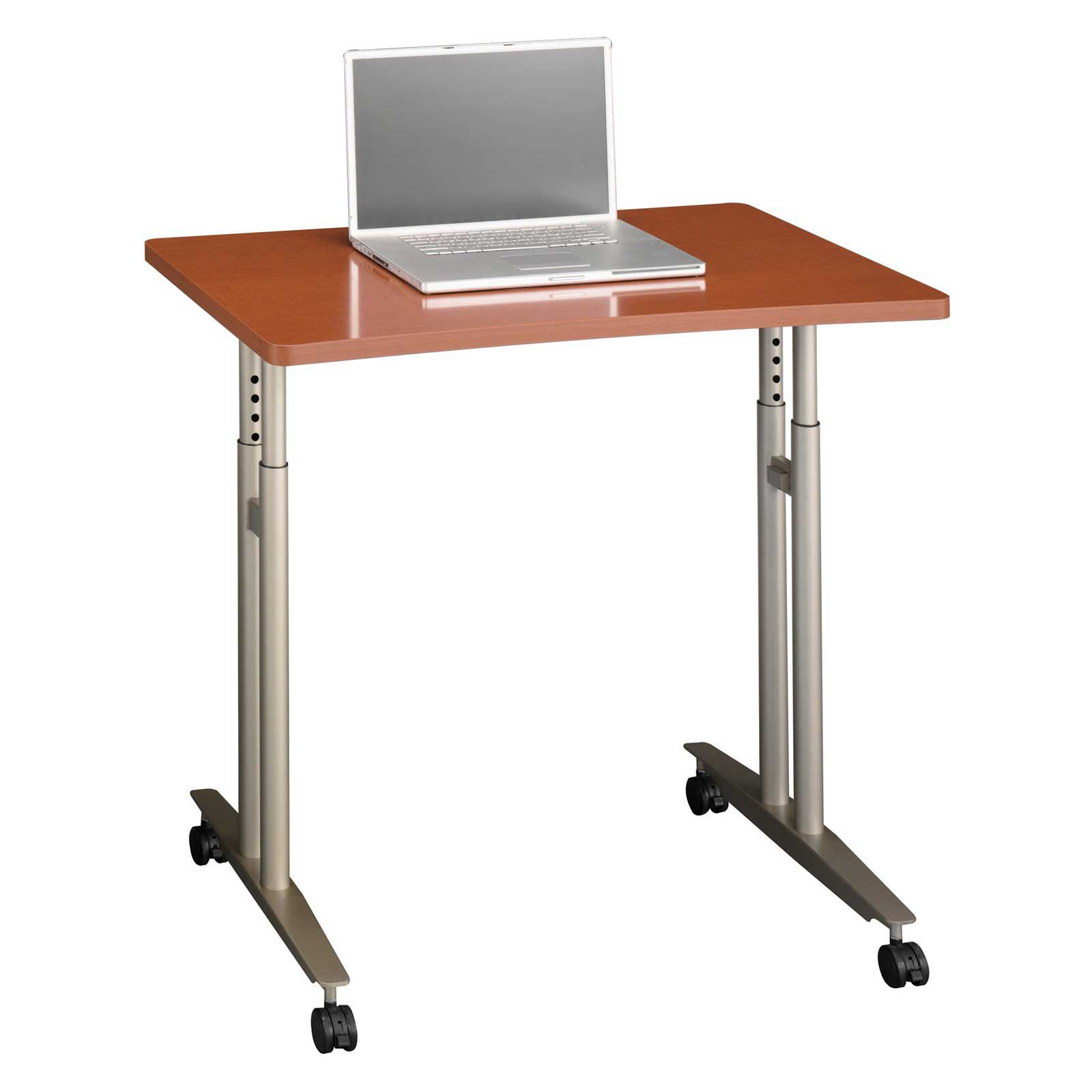 Bush Auburn Maple Wood Mobile Computer Workstations