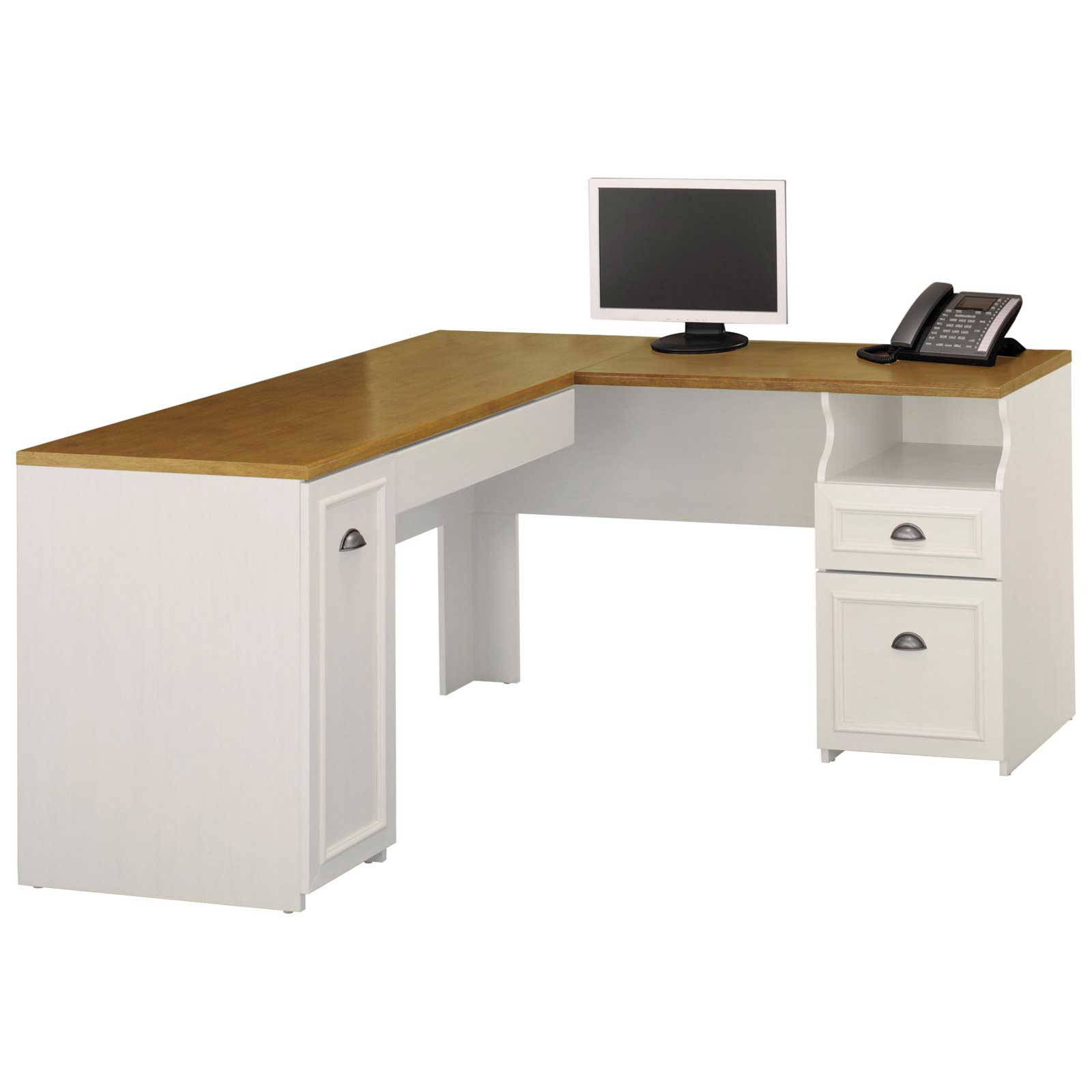 Bush Fairview L-Shaped Antique White Corner Computer Desk