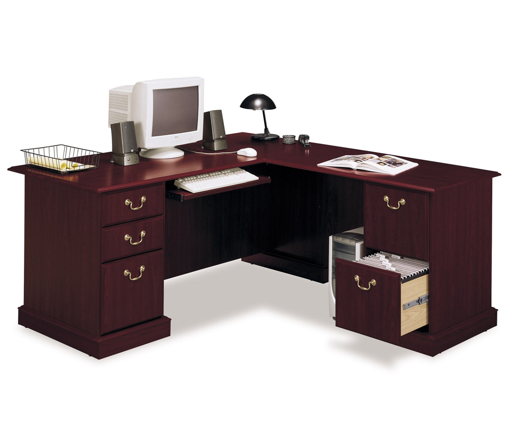 Bush Solid Cherry Corner Computer Desk