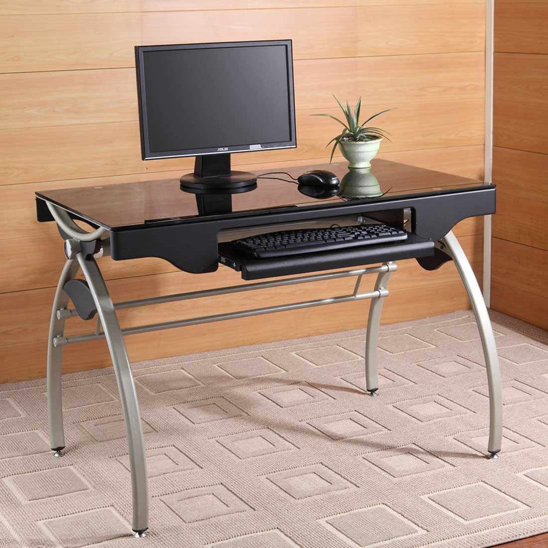 Chasta Contemporary Foldable Office Black Glass Computer Desk