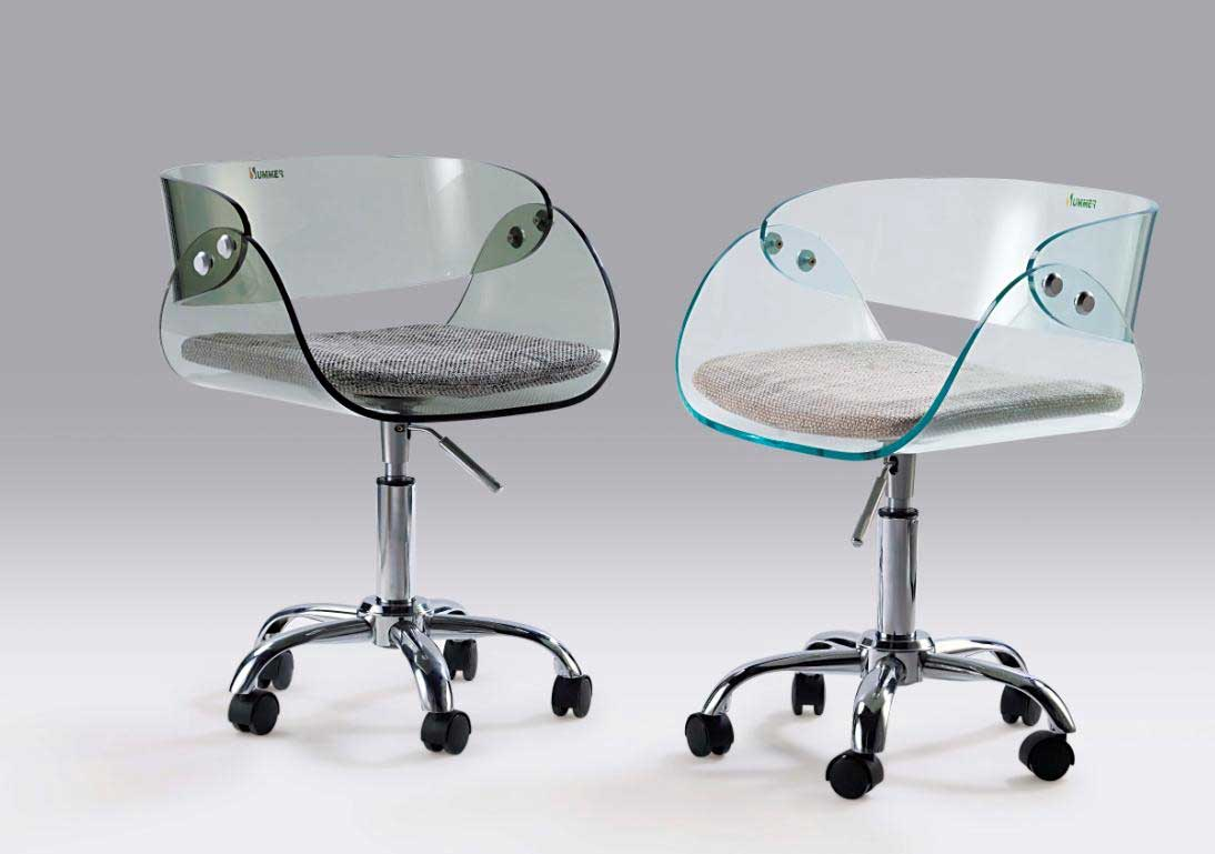 Clear Glass Adjustable Office Computer Chairs