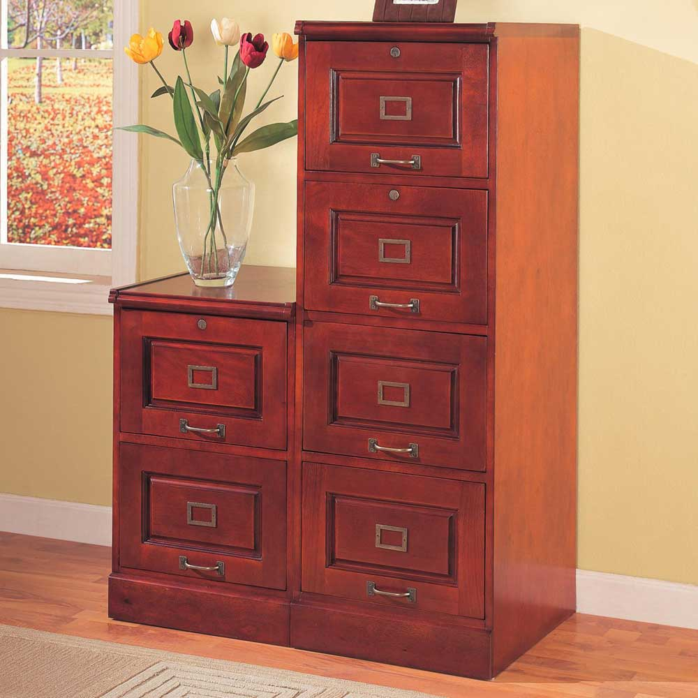 Coaster Palmetto Vertical Cherry Office Filing Cabinet
