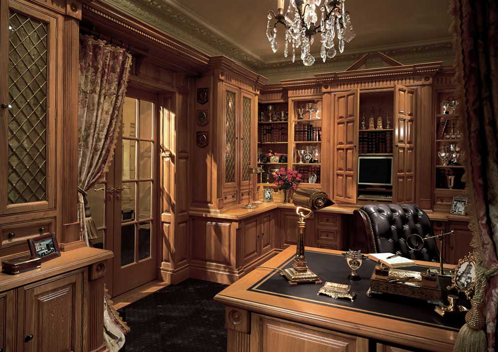 Custom Millwork Oak Home Office Furniture Layout