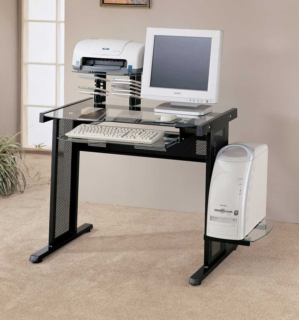 Custom Personal Glass Computer Desk with Side CPU Holder
