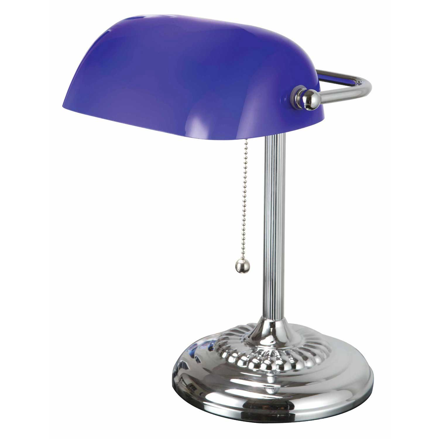 Daylight Spectrum Blue Glass Shade Bankers Desk Lamp